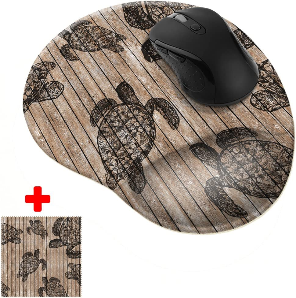 FINCIBO Turtle Wooden Comfortable Wrist Support Mouse Pad for Home and Office with Matching Microfiber Cleaning Cloth for Computer and Mobile Screens