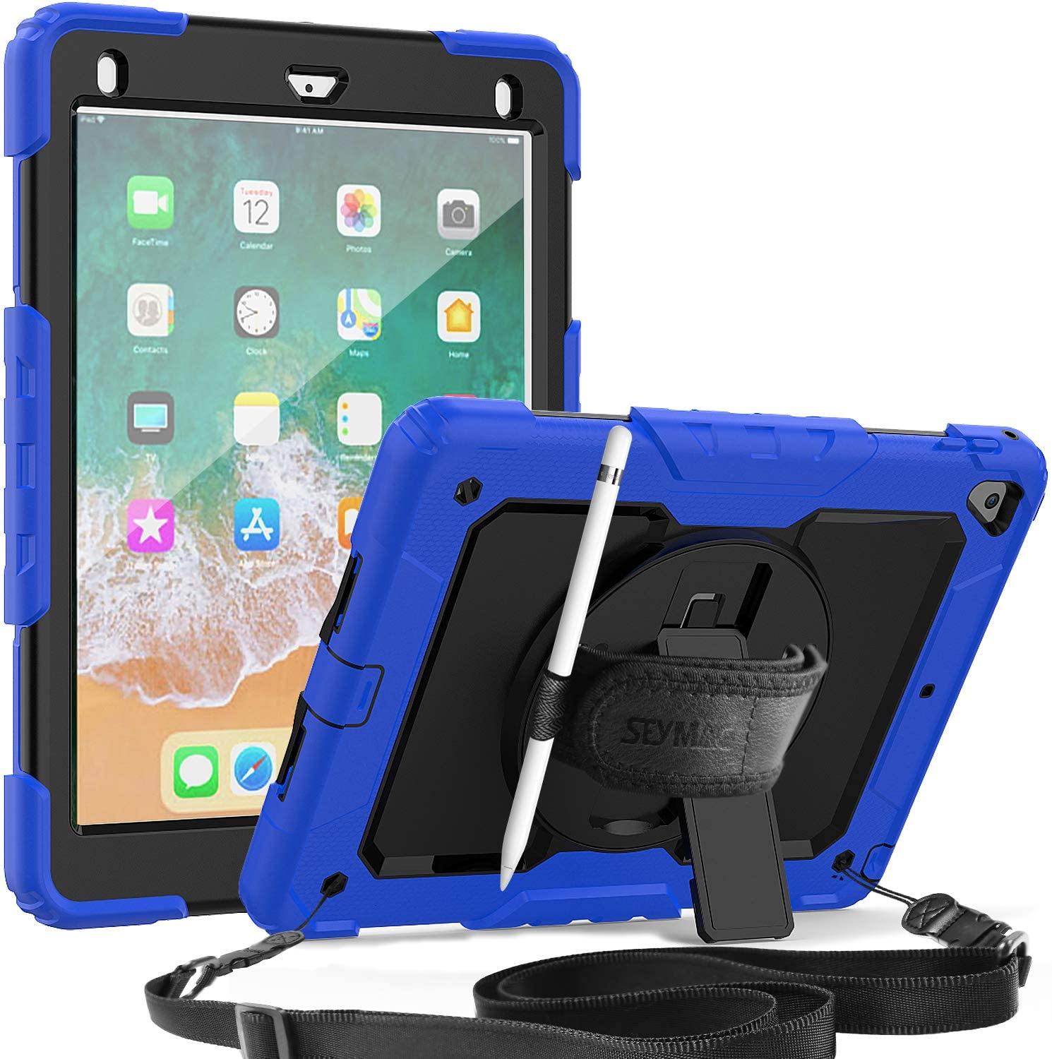SEYMAC iPad 6th Cases, iPad 9.7 2018/2017 360 Rotatable Handstrap Kickstand Case Full-Body Protection Cover with Screen Protector/Pencil Holder/Shoulder Strap for iPad 6th/5th/Air2/Pro 9.7-Blue/Black