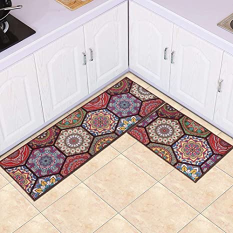 MAXYOYO Boho Kitchen Runner Rug Set 2 Pieces Runner Rug for Kitchen Oil Proof : kitchen runner rugs - hauntedcathouse.org