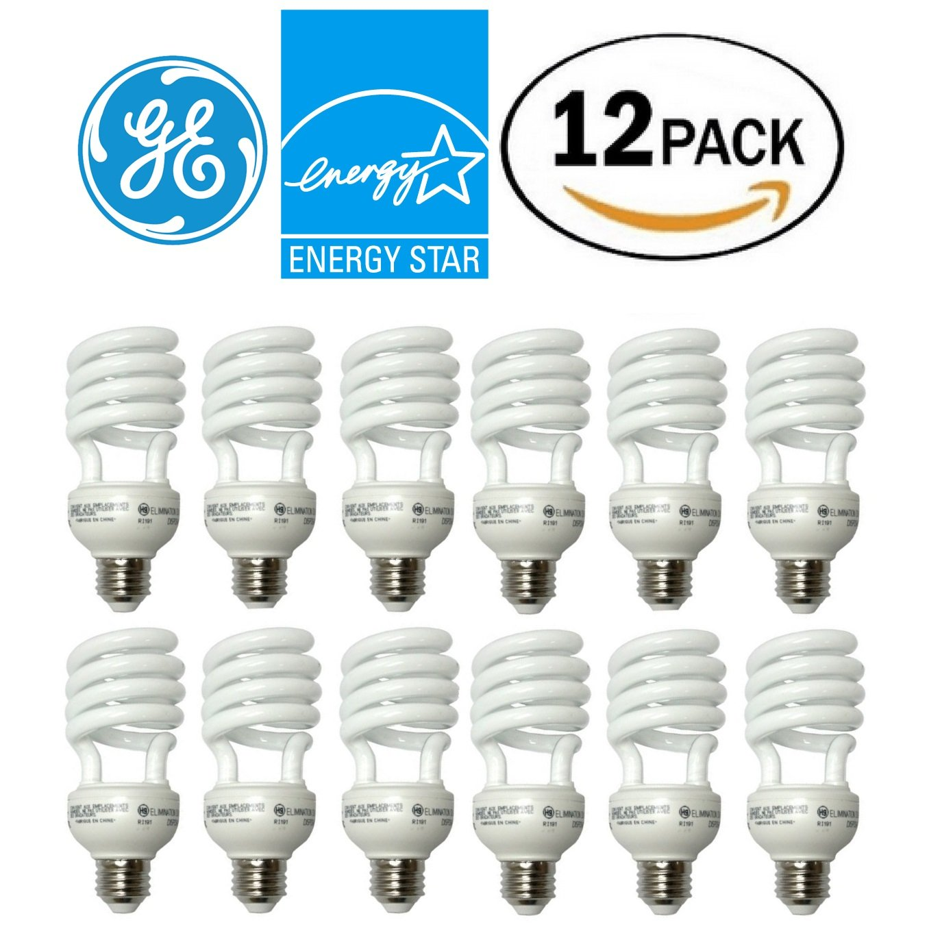 GE 26 Watt T3 Spiral Energy Smart CFL, Medium (E26) Base, 2700K, 100 Watt Replacement, 12 Pack