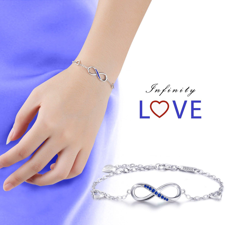 Billie Bijoux Womens 925 Sterling Silver Infinity Endless Love Symbol Charm Adjustable Bracelet Gift for Mother's Day (Blue) by Billie Bijoux (Image #6)