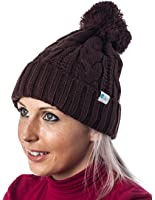 Alki'i Premium Cable knit Pom pom warm beanie snowboarding winter hats - many colors