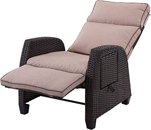 Grand patio Outdoor Resin Wicker Reclining Cushion Lounge Chair