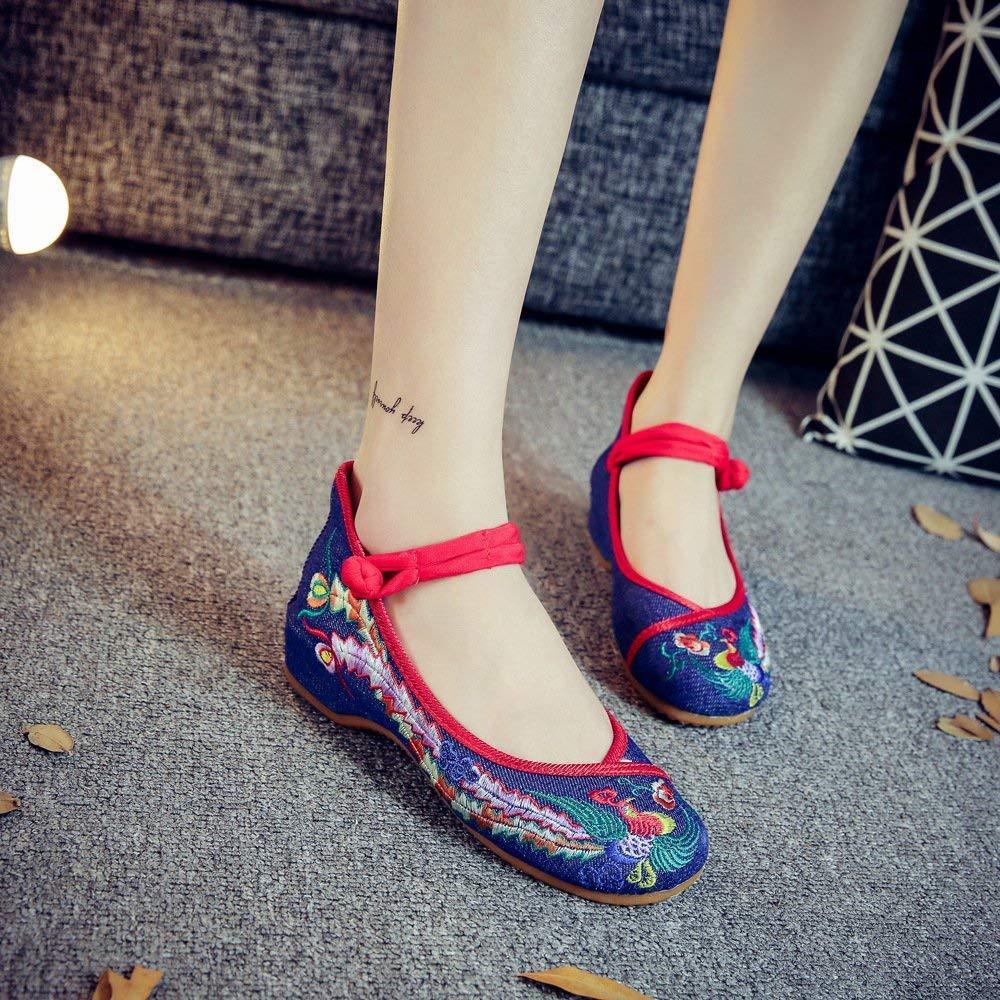 Moontang Bestickte Schuhe Sehnensohle Ethno-Stil weibliche Stoffschuhe Mode bequem Tanzschuhe Denimblau 39 (Farbe   - Größe   -)