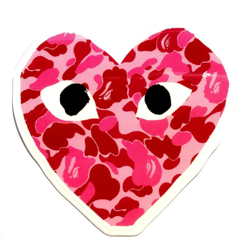 4ea0861130e0 Galleon - CDG Comme Des Garcons Pink Camo Bathing Ape Heart Brand Logo  Classic Original Decal Stickers