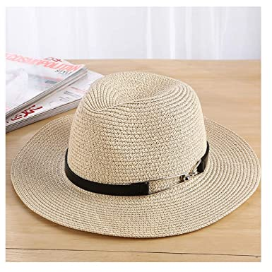 Sun Hat Summer Hats Straw Beach Panama Hat Bucket Hat Chapeau Femme Homme  Travel Vacation Seaside for Women Men Unisex Great (Color   Beige 3beb42da7e9
