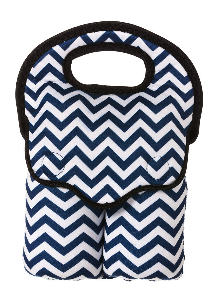 Navy Blue Chevron Double Baby Bottle Bag by B.Boutique