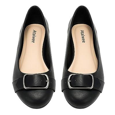Ataiwee Women's Wide Width Flat Shoes - Cozy Slip On Casual Openwork Pattern Ballet Flats.   Flats