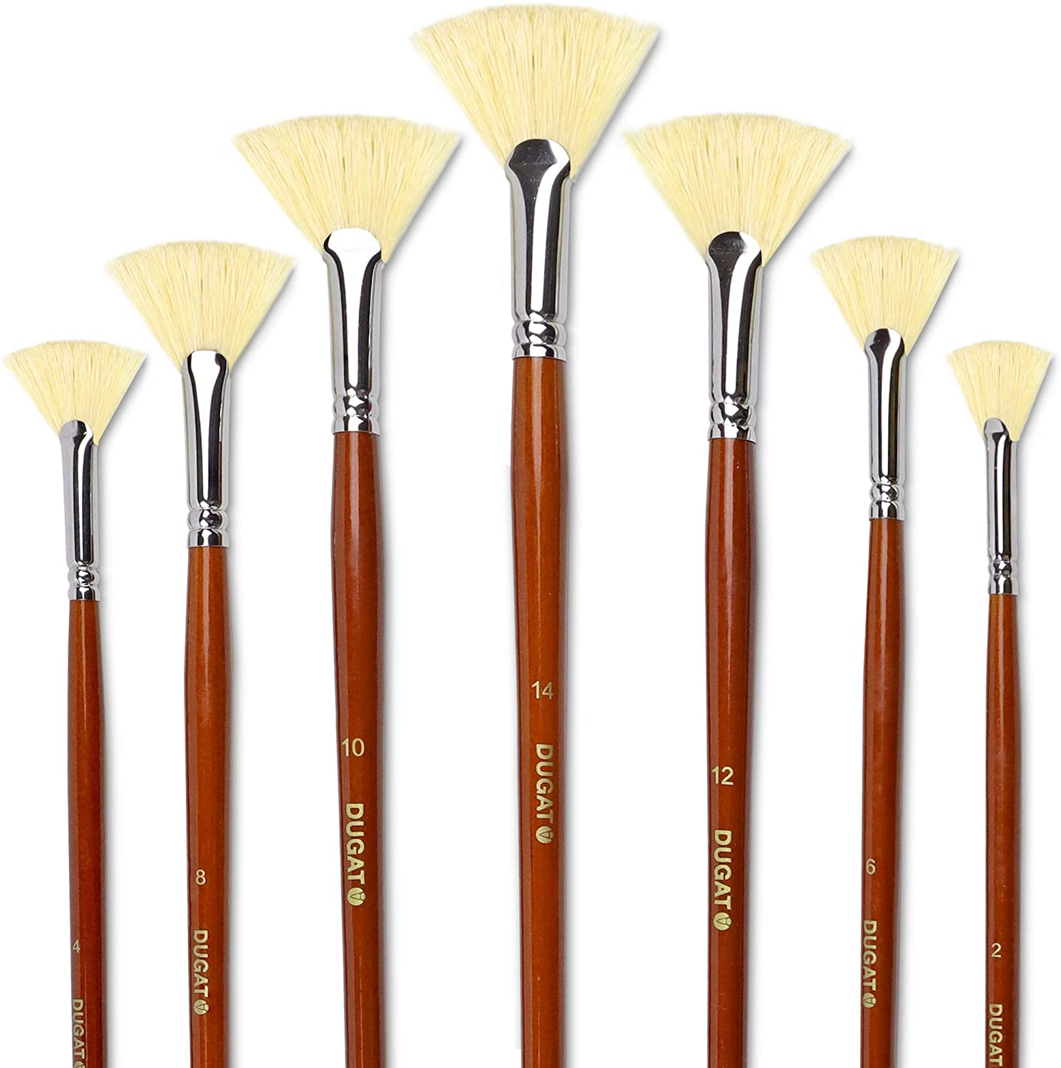 DUGATO Artist Fan Paint Brush Set of 7, White Hog Bristle Natural Hair Anti-Shedding Brush Tips, Long Wooden Handle for Comfortable Holding, Great for Acrylic Watercolor Oil Painting