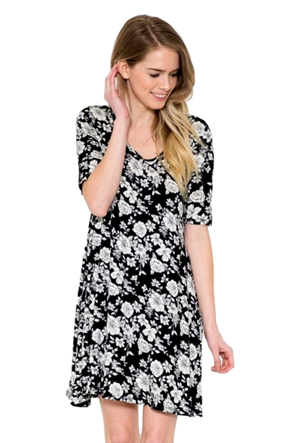 2LUV Women's 3/4 Sleeve Floral Print Casual Dress