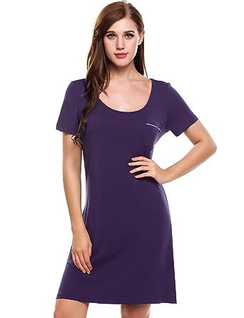 f635c5d829 Ekouaer Women s Sleep Dress Short Sleeve Nightshirt Ultra-Soft Sleepwear  Nightgown