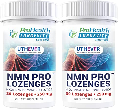 ProHealth Longevity NMN Pro Lozenges – Uthever NMN - World's Most Trusted Ultra-Pure, stabilized, Pharmaceutical Grade NMN to Boost NAD+, Used in Human Clinical Trials (250 mg, 30 lozenges) (2 Pack)