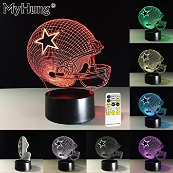 christmas gifts for men 3d dallas cowboys football cap lamp luminaria led night light kids room