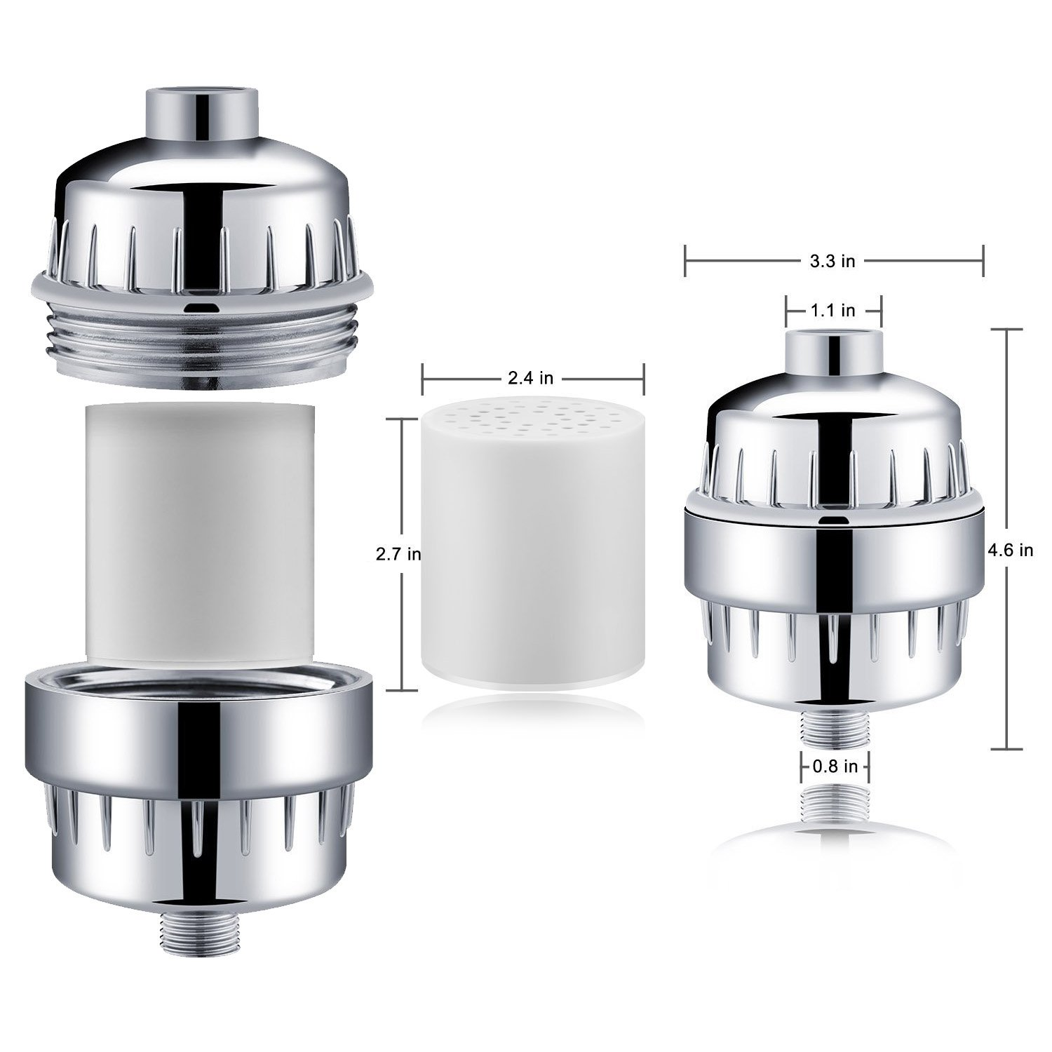 Kimfly Shower Filter, 12-Stage Shower System, Remove Chlorine, Fluoride, Odors, Heavy Metals, Bacteria- Boosts Health of Your Skin and Hair, 2 Replaceable Cartridges Included
