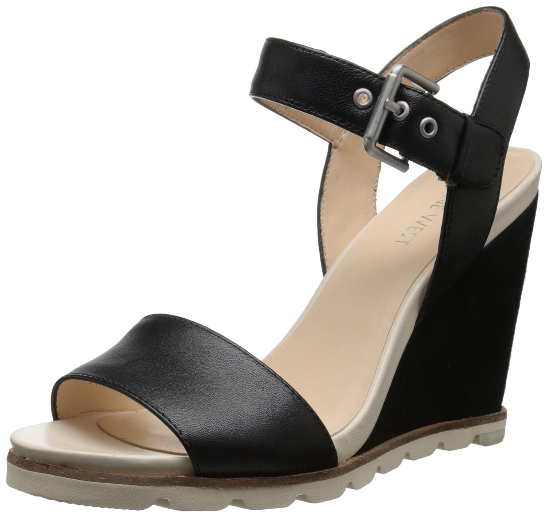 Nine West Women's Gronigen Leather Wedge Sandal B015T2TJ2S 12 B(M) US|Black