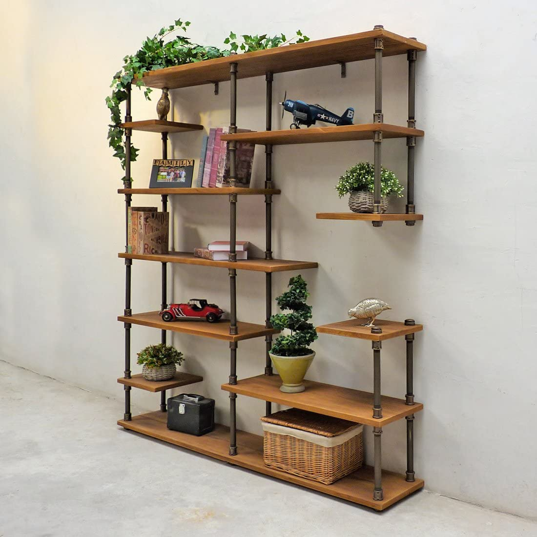 Furniture Pipeline Nashville Industrial Mid-Century Etagere Bookcase