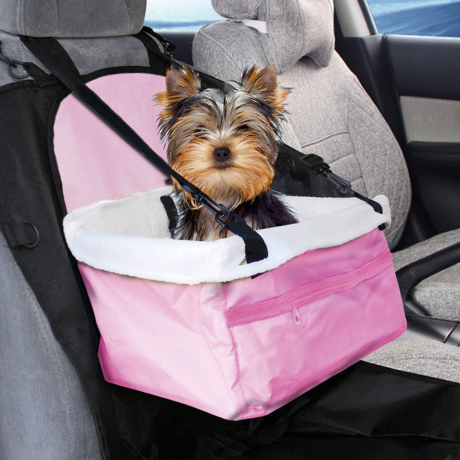 Pet Travel Foldable Soft Interior Car Booster Seat Pet Carrier Seat Protector For Small Dogs Cats Puppy Pink