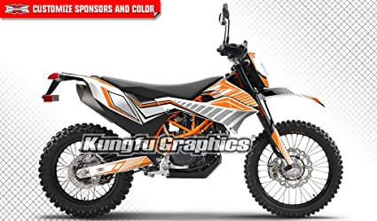Kungfu Graphics Custom Decal Kit for 690 Enduro R 2012 2013 2014 2015 2016  2017, Orange White Squares