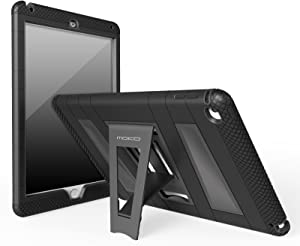 """MoKo Case Fit iPad Air 2 - [Kickstand] Durable Hybrid Silicone + Hard Polycarbonate Kid Proof, Shock-Absorption with Foldable Stand Cover Fit iPad Air 2 9.7"""" 2014 Released Tablet, Black"""