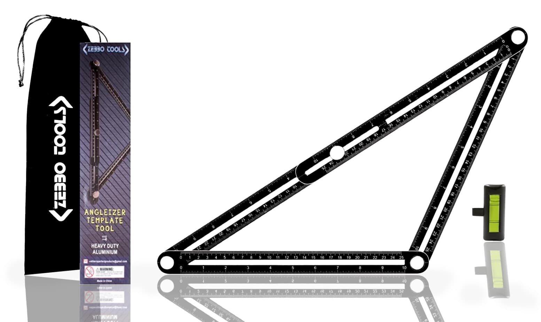 Heavy Duty Aluminum Angleizer Template Tool by Zebbo   Universal Adjustable Angleizer   DIYProjects/Home Improvement/Tiling/Carpentry/Brickwork/Flooring   Black   12'' x 12''