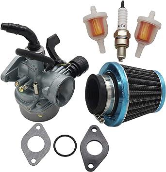 PZ19 ATV Carburetor for 50cc 70cc 80cc 90cc 110cc 125cc Dirt Pit Bike Scooter Moped Taotao Go Karts Honda CRF with Air Fuel Filter Gaskets Rubber Ring