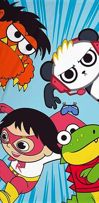 Ryans World Gang Einzelbettbezug wendbare offizielle Merchandise-Bettw/äsche Combo Panda /& Gus Ryans World Gang Towel 140 x 70cm mit Red Titan