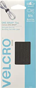 """VELCRO Brand - ONE-WRAP for Cables, Wires & Cords - 8"""" x 1/2"""" Ties, 5 Ct. - Black w/Tabs"""