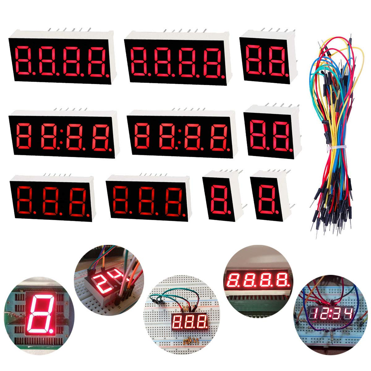 Jump Wire Youmile 10PCS LED Display 7 Segment 1Bit 2Bit 3Bit 4Bit Common Cathode 10PIN Red Light For Arduino,DIY