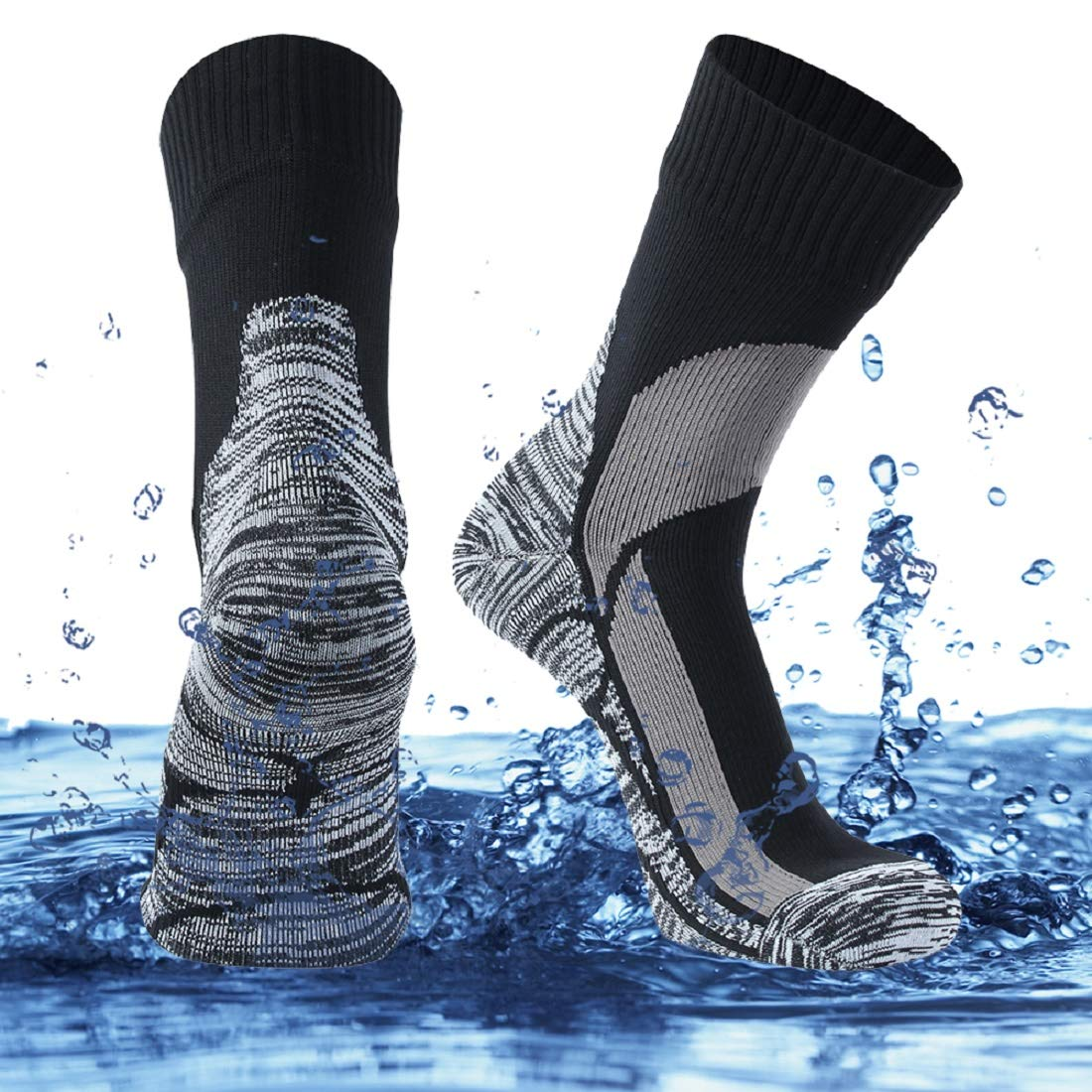 SuMade Waterproof Sports Socks, Womens Mens Lightweight Thick Cushioned Soft Moisture Wicking Comfortable Skiing Kayaking Hiking Outdoor Socks 1 Pair (Black, Medium) by SuMade
