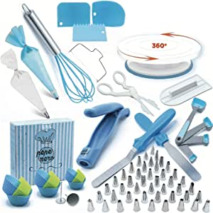 136pcs Cake Decorating Supplies Kit Baking Accessories with Cake Rotating Turntable Stand Cake Spatulas Cake Scraper Pastry Tool Frosting Bags and Tips for Beginners and Professional User