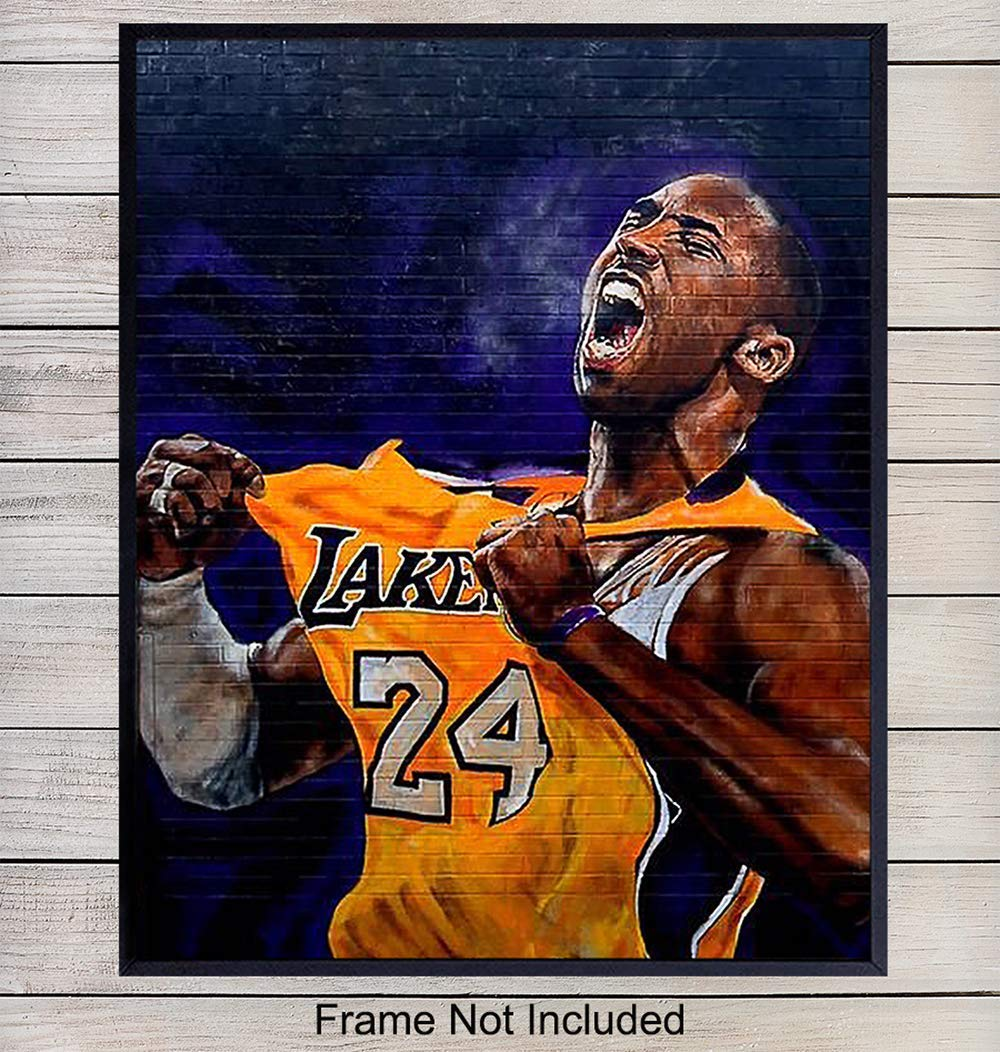 LA Lakers Basketball, Kobe Bryant Graffiti Wall Art, Home Decor - Poster Print Mural- Room Decorations for Man Cave, Boys, Kids Room - Gift for Men and Hoops Fans - 8x10 Photo Unframed