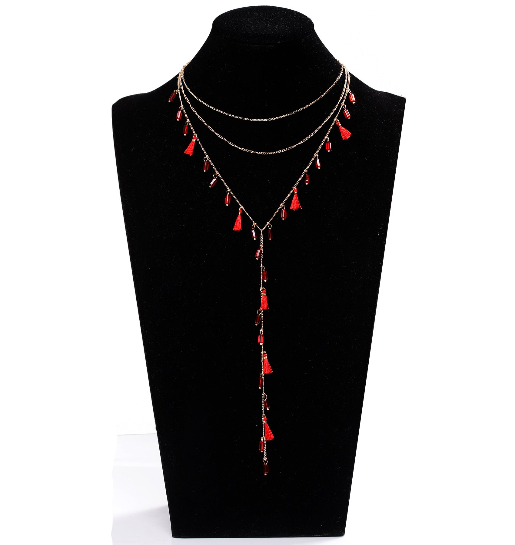 YOUMI Layered Choker Necklace Mini Tassel Beads Drop Long Chain Fringe Tassel Y Necklaces for Women (Red)