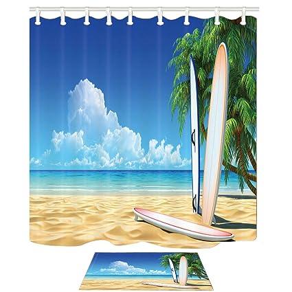 Decoración náutica cortinas de ducha conjunto por KOTOM, tabla de surf en Ocean Beach y