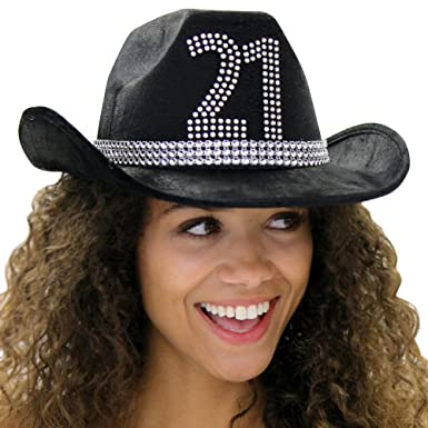 Country Western 21st Birthday Rhinestone Cowboy Hat - Cowgirl 21st Birthday  Party Decorations   Supplies - 962fb5bcd70