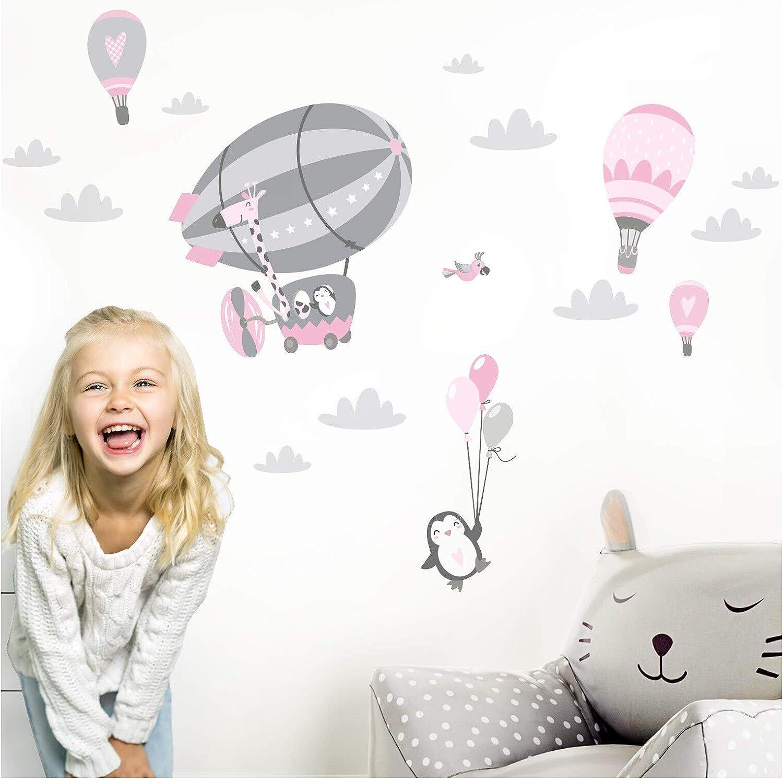 Little Deco DL358 - Adhesivo decorativo para pared, diseño de pingüino con animales, color rosa, M - 112 x 59 cm (BxH)