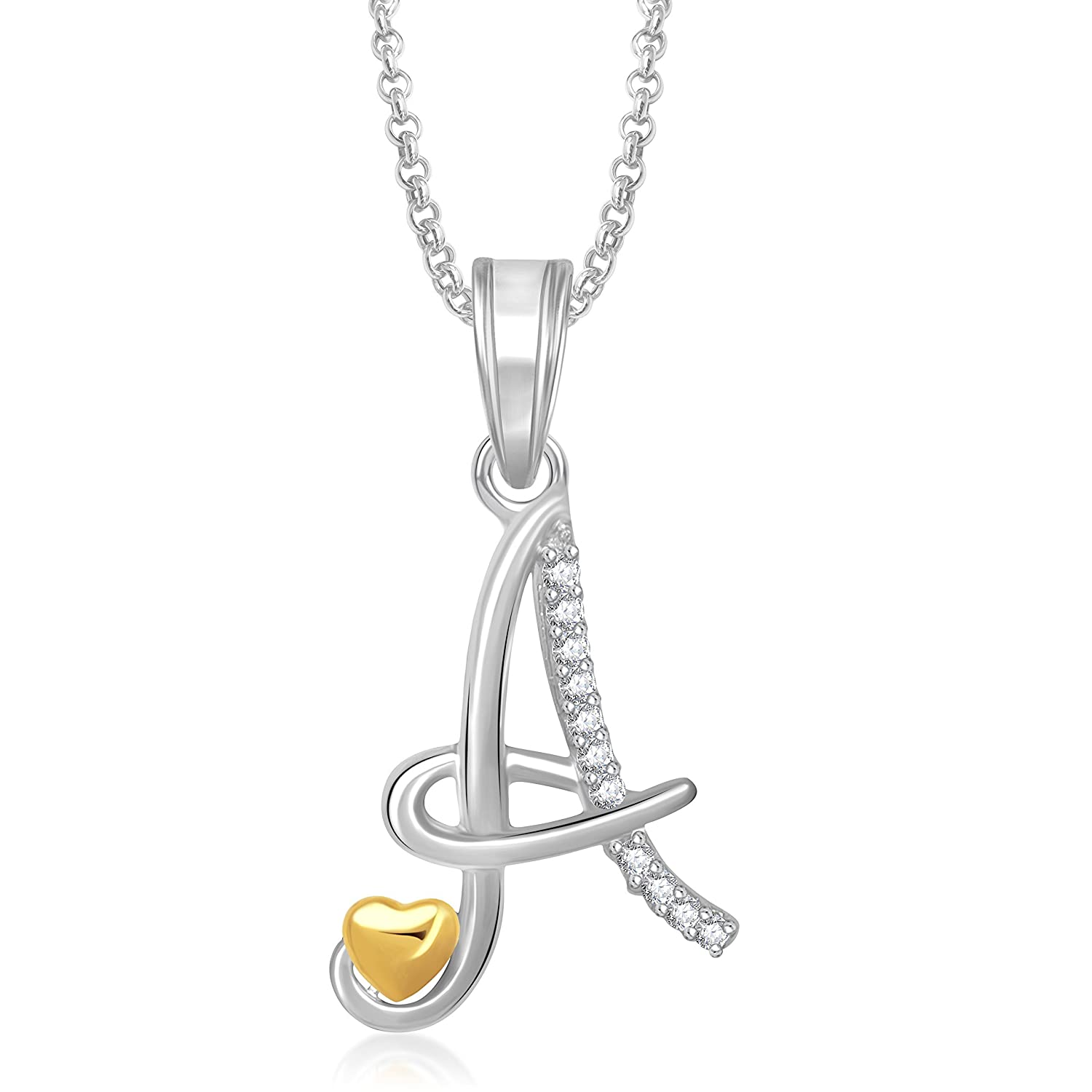 72c76134116ff Buy Meenaz Silver Gold Plated  A  Letter Unisex Pendants With Chain  Jewellery Set - 339 Online at Low Prices in India