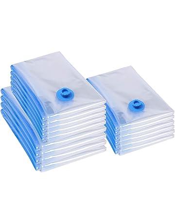 SONGMICS 15 Unidades de Bolsas de Almacenaje al Vacío, Válvula mejorada, Hermeticidad Reforzada,