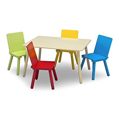 Delta Children Kids Table and Chair Set (4 Chairs Included) - Ideal for Arts & Crafts, Snack Time, Homeschooling, Homework & More, Natural/Primary: Baby