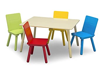 White Kids Childrens Solid Wood Pine Study Breakfast Table and 2 Chairs Brown