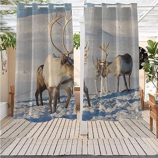 Cortinas de Exterior Gazebo Paneles de Ventana de Exterior decoración de Navidad Panorámica de Invierno Vista en Montañas Pérgola Interior Exterior Impermeable Multicolor: Amazon.es: Jardín