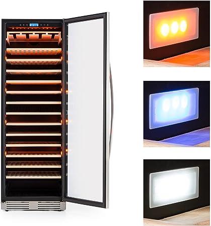 Klarstein Vinovilla Grande - Nevera para vinos, Nevera de bebidas, 425 litros, 165 botellas, 13 estantes de madera, Control táctil, Iluminación LED en 3 colores, Temperatura ajustable, Negro