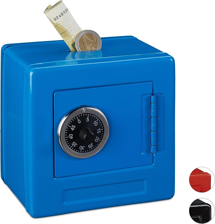 Relaxdays Hucha Caja Fuerte combinación para niños, Hierro-plástico, Azul, 13.5 x 13 x 9 cm