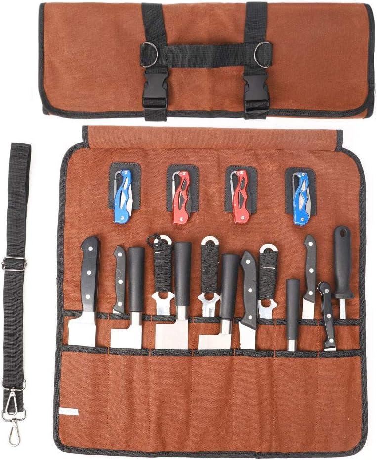 mit Griff und Schulterriemen gewachstes Segeltuch gro/ß f/ür K/üchenutensilien langlebig HNYG Werkzeugtasche mit 18 F/ächern f/ür Kochmesser tragbar