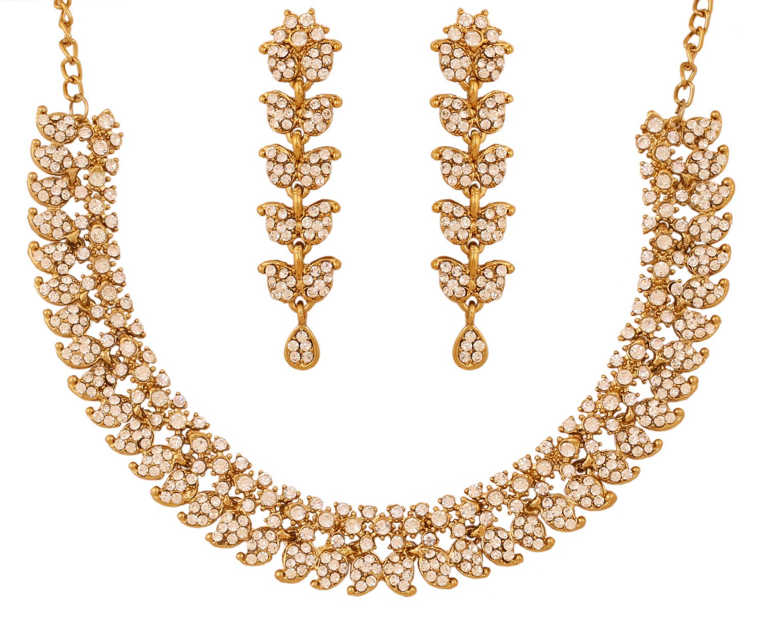 Touchstone Hollywood Glamour White Crystals Paisley Motif Grand Jewelry Necklace in Antique Tone for Women