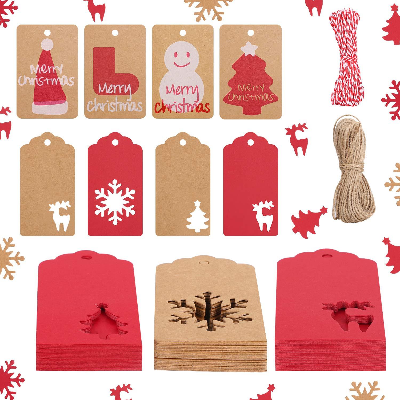Weihnachten Geschenkanh/änger,Urtone 200Stk Weihnachts Geschenkanh/änger Anh/änger Etiketten mit 20M Juteschnur f/ür Weihnachten Thanksgiving und Weihnachtsgeschenk Dekorationen
