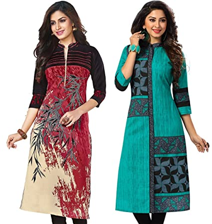 Jevi Prints Women's Unstitched Kurti Material (Pack of 2) Dress Material at amazon