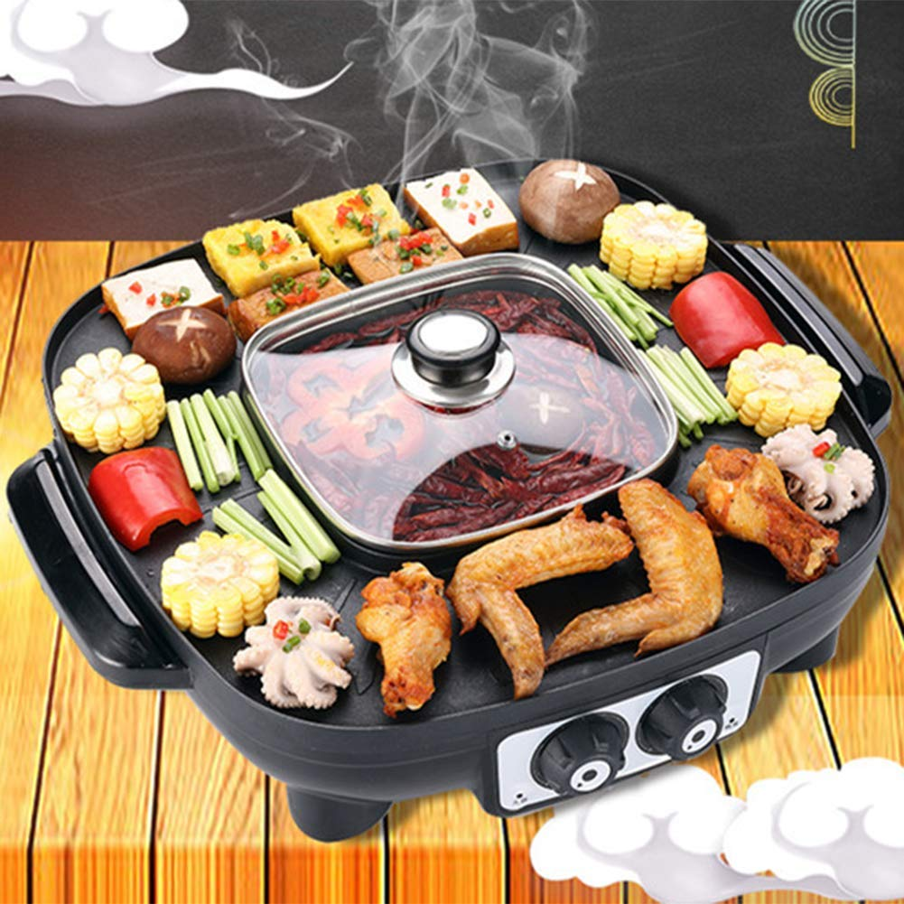 Amazon.com: 2-In1 Electric Shabu Hot Pot With Grill, Indoor Non-Stick Grilling Iron Plate Double Heating Control: Kitchen & Dining