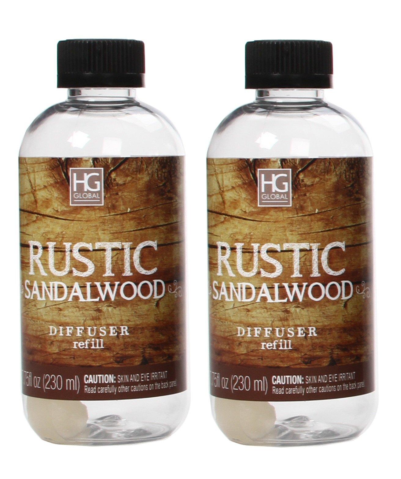 Hosley Set of 2 Premium Rustic Sandalwood Reed Diffuser Refills Oil, 230 ml (7.75 fl oz) Made in USA. Bulk Buy. Ideal Gift for Weddings, spa, Reiki, Meditation Settings O4