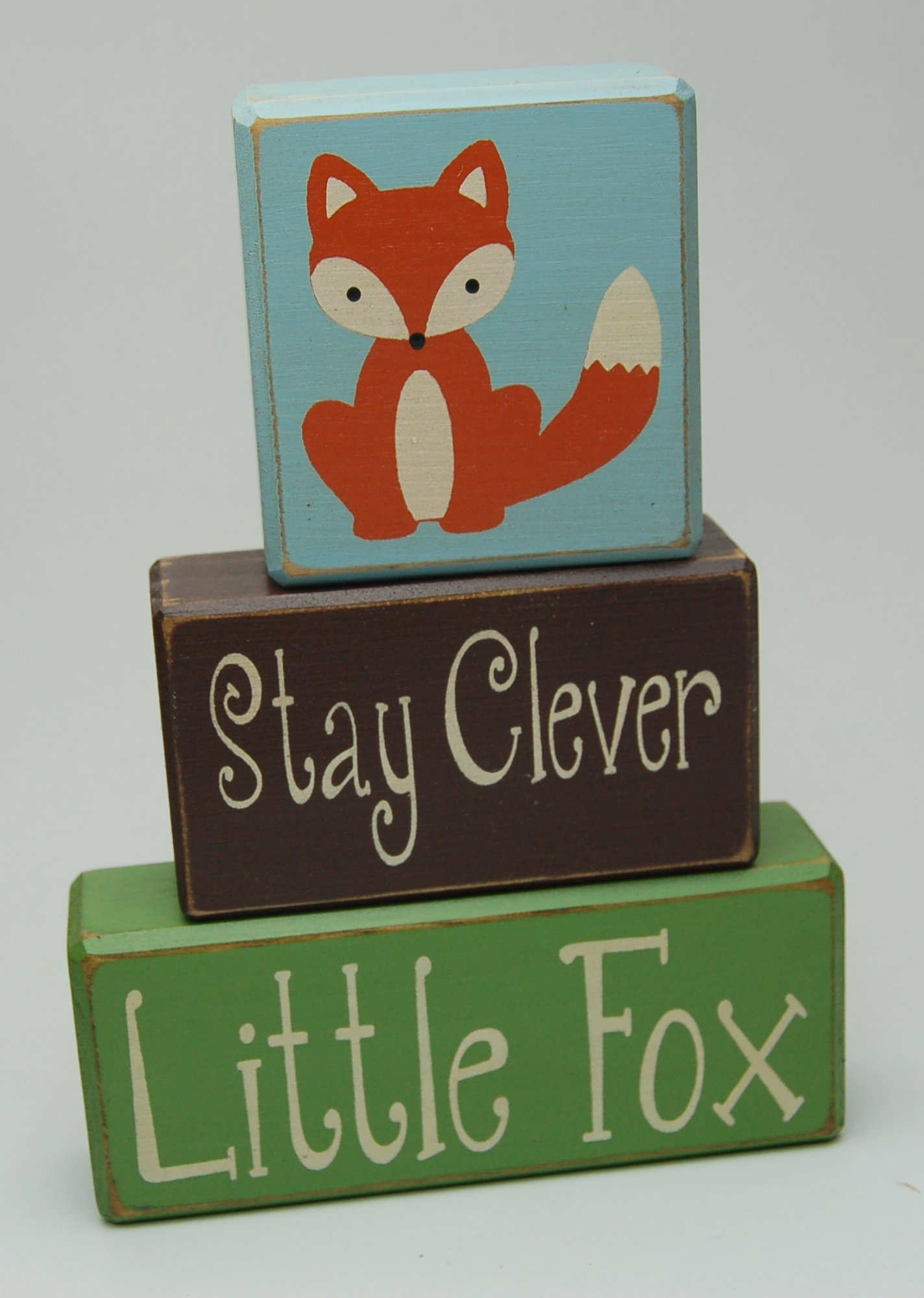 Stay Clever Little Fox - Woodland Nursery - Fox Critter -Primitive Country Wood Stacking Sign Blocks-Birthday-Nursery Room-Baby Shower Home Decor