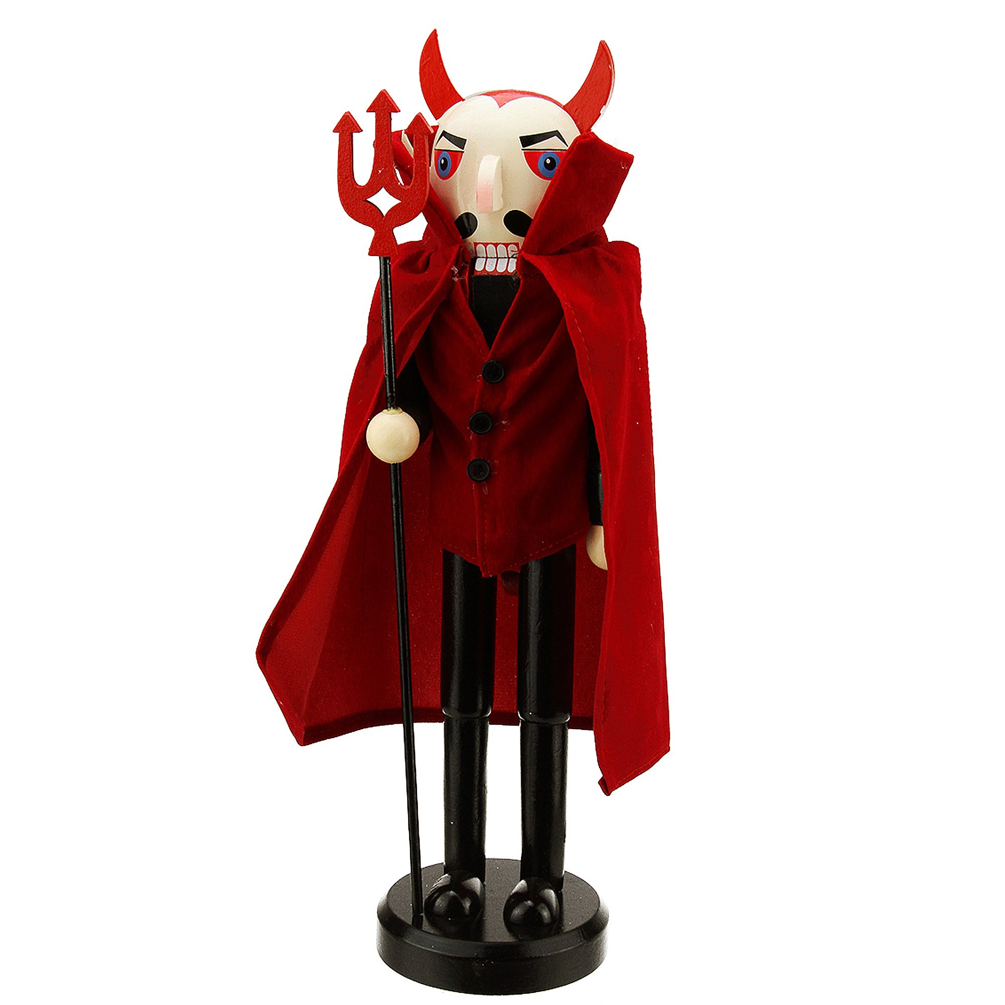 Northlight Red Devil Decorative Wooden Halloween Nutcracker Holding A Pitch Fork, 14''